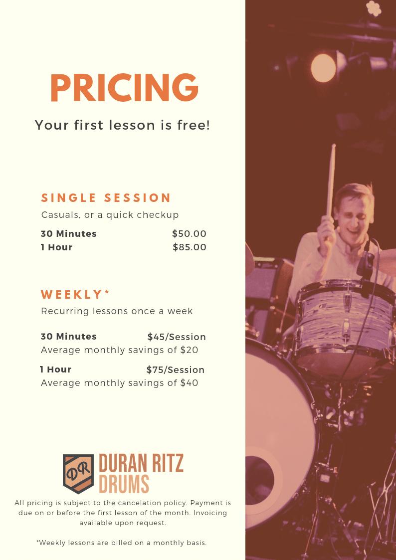 Vancouver Drum Lessons - Duran Ritz Drums